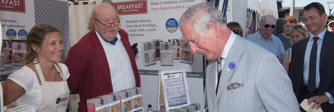 Prince Charles at the Hugo's Breakfast Stand at the Taste of the West Food Fair